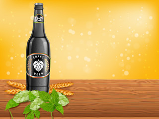 Realistic beer products ad. Vector 3d illustration. Dark craft beer bottle template design