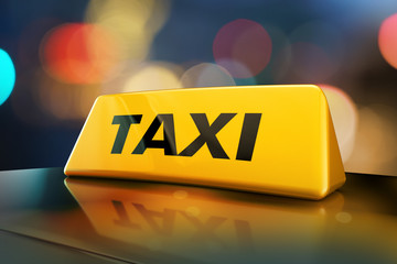3d rendering Yellow taxi sign on the roof of car in a city street at night. Luminous neon taxi sign on bokeh big city background Fototapete