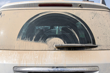the dust windscreen of car  back view.