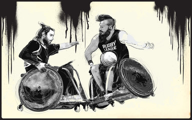 RUGBY. From the series SILENT HEROES - Athletes with physical disabilities. An hand drawn vector. - - - Note - Any accurate photo original for this picture, original is created by me - - -
