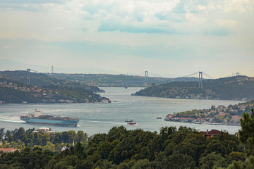 Istanbul Bosphorus panorama with Bridges