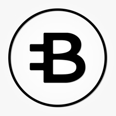 Bytecoin cryptocurrency. Vector sign icon. Internet money