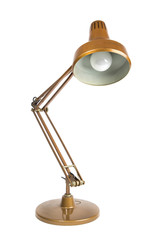 isolated portrait of a vintage table lamp / old copper colored table lamp on white background