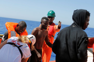 Migrants are rescued by SOS Mediterranee organisation during SAR operation with the MV Aquarius rescue ship in the Mediterranean Sea
