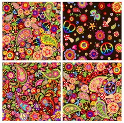 Collection hippie wallpapers with peace symbol, flower-power and mushrooms