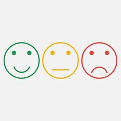 Emoticons. Set of smiley line icons. Feedback emotions face. Positive, normal, negative. Vector illustration.