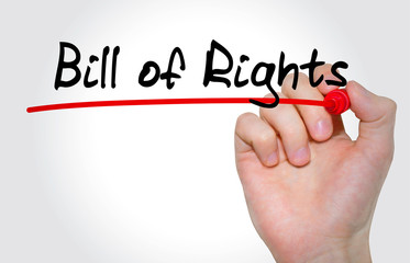 Hand writing inscription Bill of Rights with marker, concept