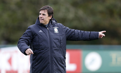 Wales manager Chris Coleman during training