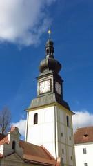 Castle bell tower clock tower in Zdar nad Sazavou, Czech Republic