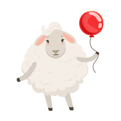 Cute white sheep character standing with red balloon, funny humanized animal vector Illustration