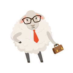 Cute businessman sheep character wearing glasses holding briefcase, funny humanized animal vector Illustration
