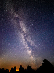 colorful milky way galaxy seen in night sky over trees