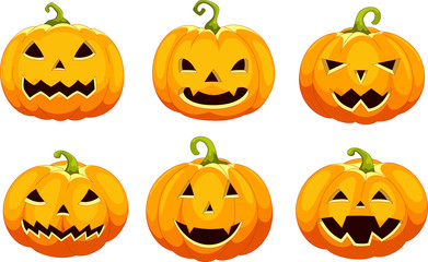 Vector illustration of set pumpkins for Halloween isolated on white background