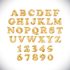 English alphabet and numerals from yellow Golden balloons on a white background. holidays and education