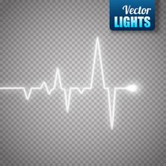 Heart pulse graphic isolated on transparent background. Medical vector background
