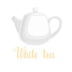 "Teapot on white background, handwritten title ""White tea"", vector illustration"