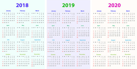 Calendar Design 2018,2019,2020 vector and editable