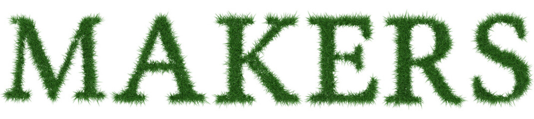 Makers - 3D rendering fresh Grass letters isolated on whhite background.
