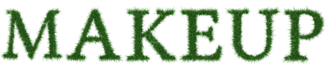 Makeup - 3D rendering fresh Grass letters isolated on whhite background.