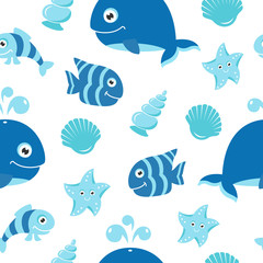Cute seamless pattern with cartoon sea animals. The pattern can be repeated without any visible seams