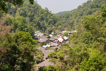 village in the forest at mae kampong, chiang mai province.