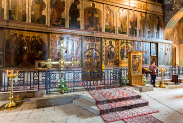 Interior of the Russian orthodox St. Sophia Cathedral in Veliky Novgorod, Russia