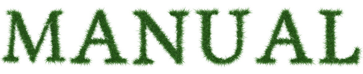 Manual - 3D rendering fresh Grass letters isolated on whhite background.