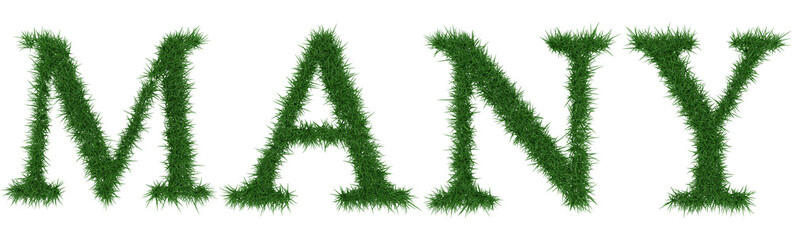 Many - 3D rendering fresh Grass letters isolated on whhite background.