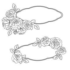 vector contour illustration of rose bouquet frame