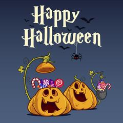 Vector illustration of funny Halloween pumpkins