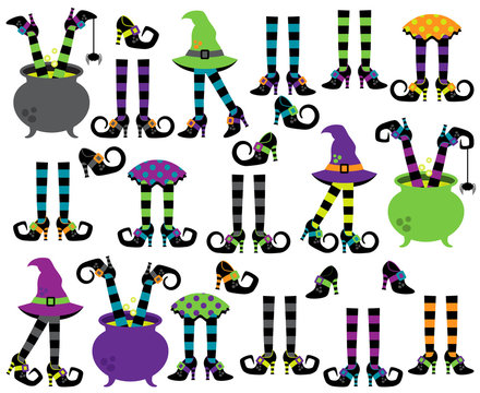 Cute Vector Collection of Witches' Feet, Legs and Shoes