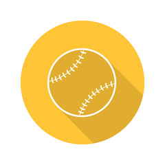 Baseball ball flat linear long shadow icon
