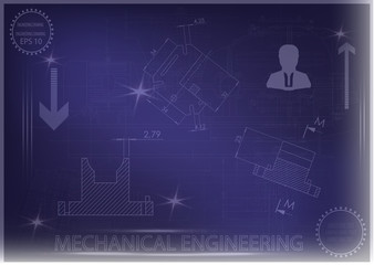 Machine-building drawings on a blue background