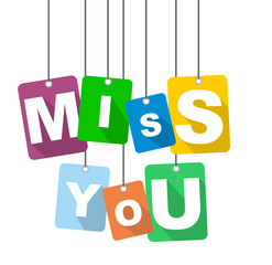 Colorful vector flat design background miss you. It is well adapted for web design.