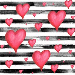 Hearts striped seamless pattern