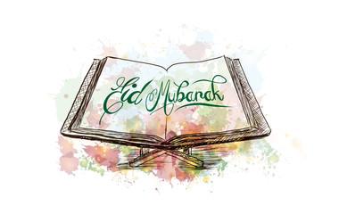 Watercolor sketch of Eid Mubarak on Quran in vector illustration.