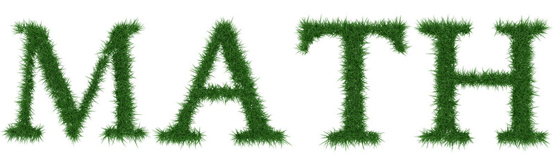 Math - 3D rendering fresh Grass letters isolated on whhite background.