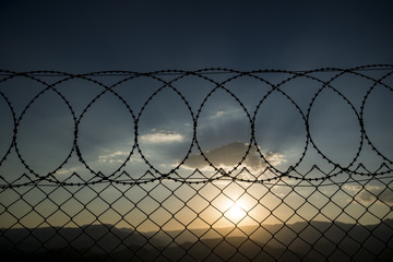 Barbed wire and forbiden zone