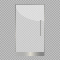 Transparent glass door, isolated, vector illustration