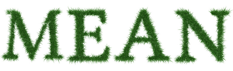Mean - 3D rendering fresh Grass letters isolated on whhite background.