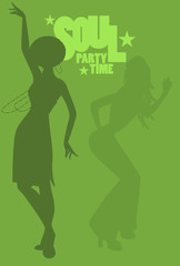 Silhouette of girls dancing soul, funky or disco music. Retro Style.