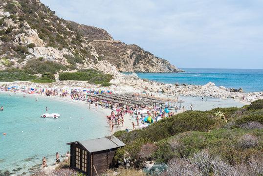 Beautiful beach  and sea in Villasimius, Sardegna, Italy
