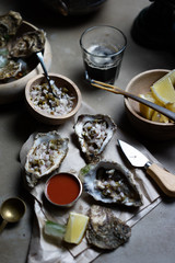 Oysters on half shell.