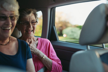 Happy, caucasian seniors having fun in back seat of car