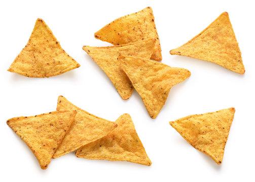 Corn chips, nachos isolated on white background.