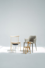 A family of four different chairs