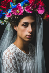 Feminine Boy with Veil and Flowers Crown, Studio Shot