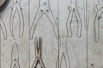 Pliers hanging on a workshop