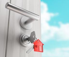Porta con maniglia e chiavi nella serratura
