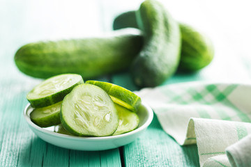 Sliced green cucumbers.